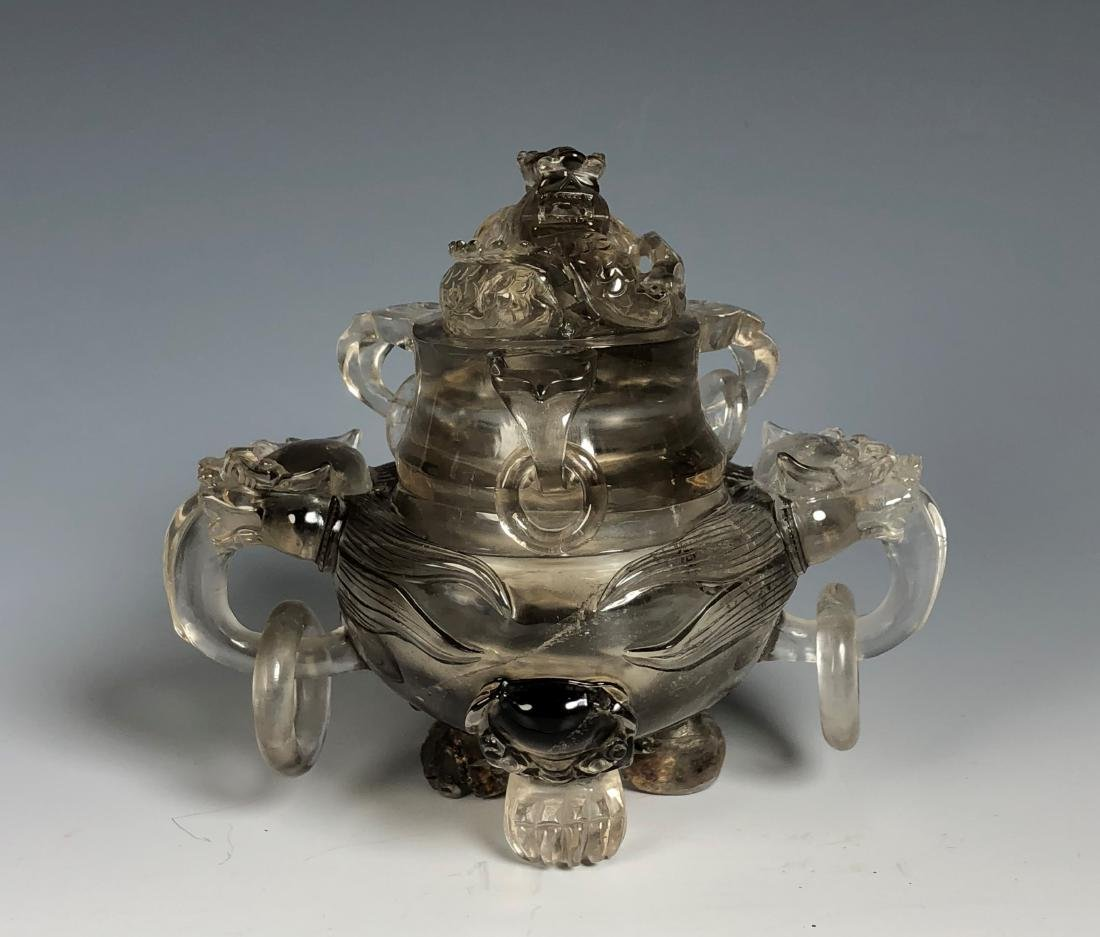 Rock Crystal Dragon Tripod Bowl with Cover