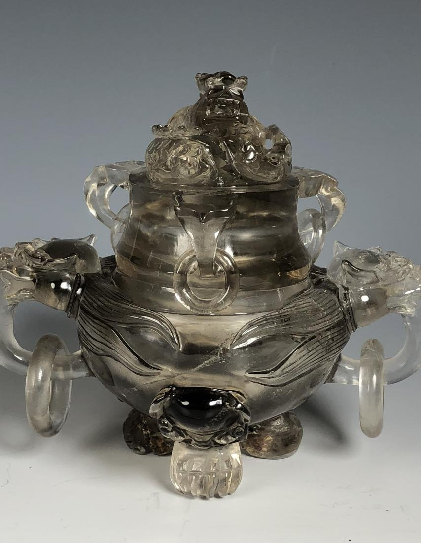 Rock Crystal Dragon Tripod Bowl with Cover - 2