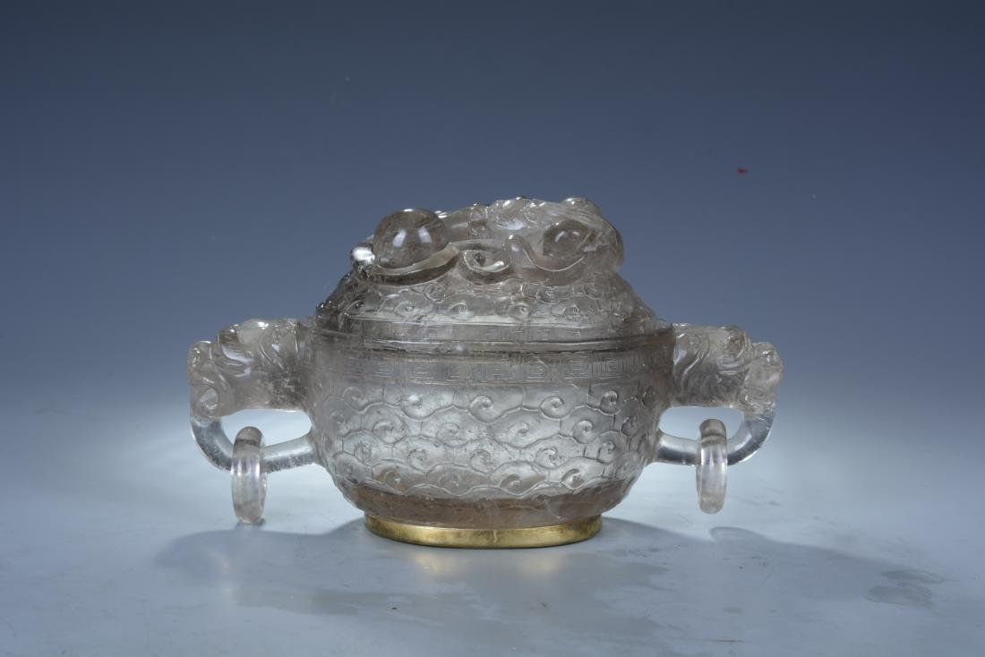 Rock Crystal Dragon Bowl with Cover