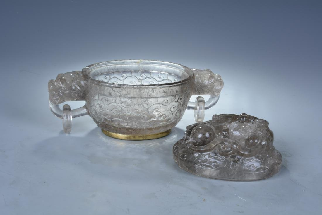Rock Crystal Dragon Bowl with Cover - 5
