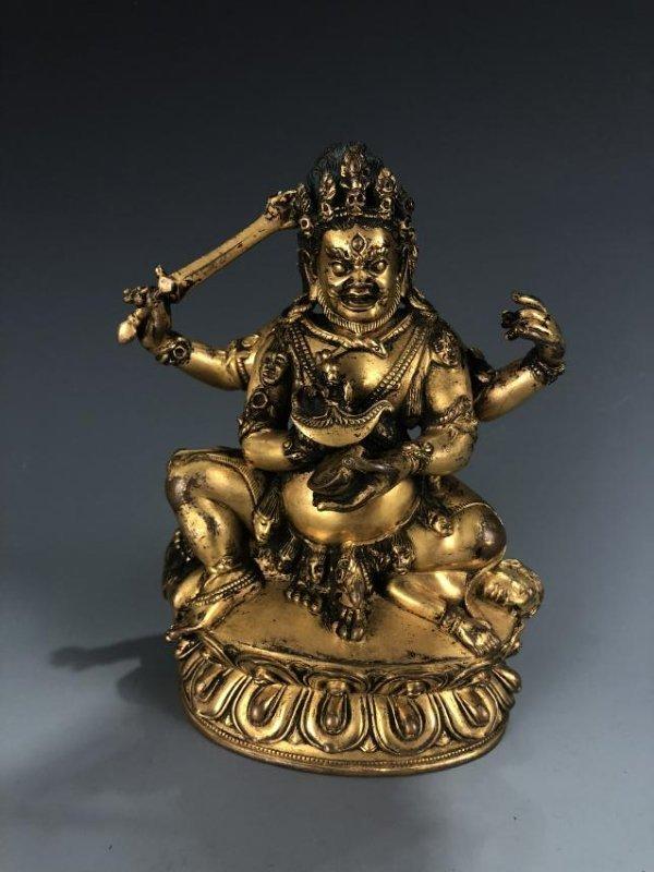 Gilt Bronze figure of Four Armed Mahakala