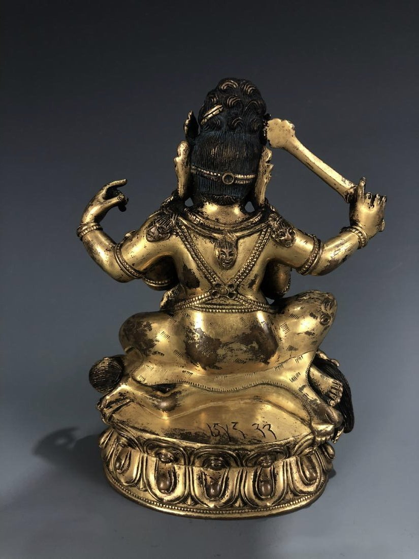 Gilt Bronze figure of Four Armed Mahakala - 4