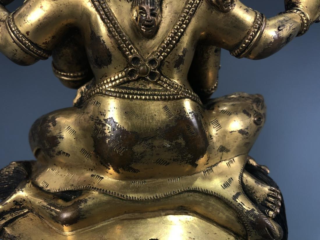 Gilt Bronze figure of Four Armed Mahakala - 5