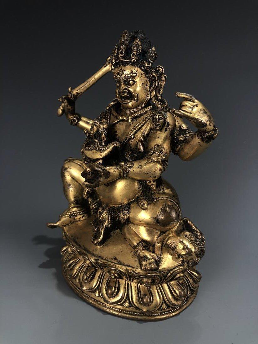Gilt Bronze figure of Four Armed Mahakala - 8