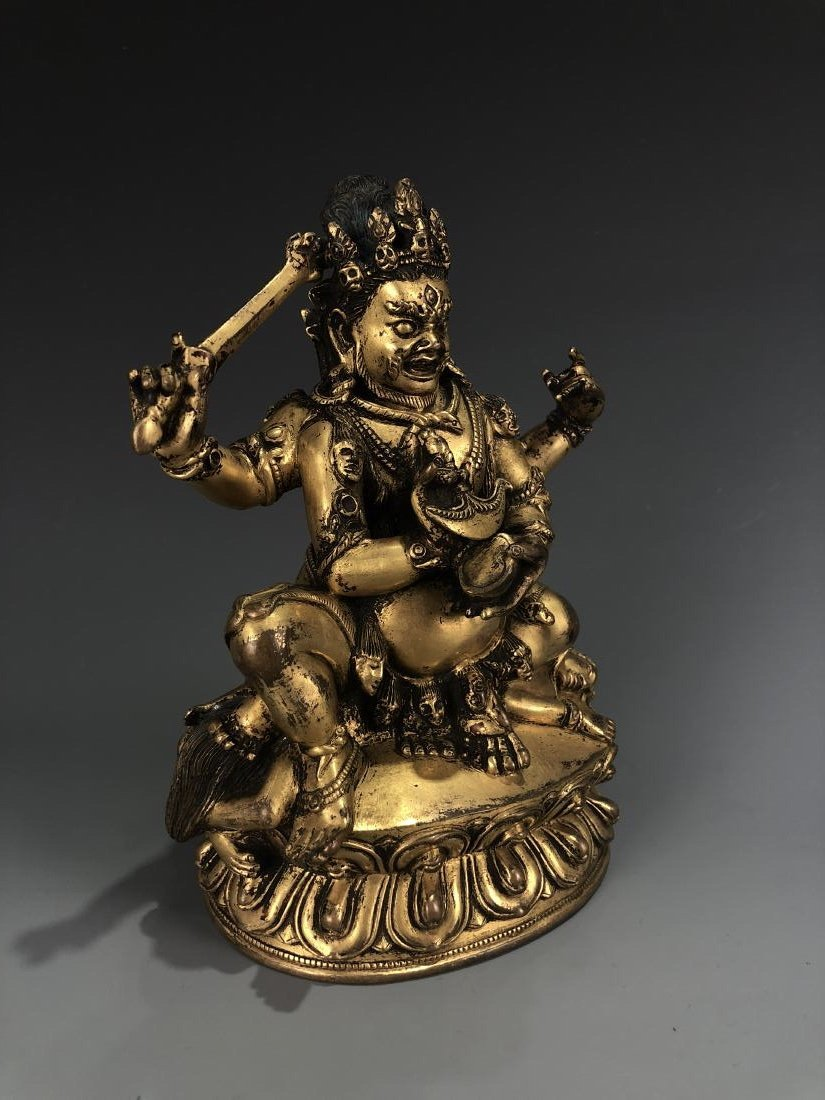 Gilt Bronze figure of Four Armed Mahakala - 9