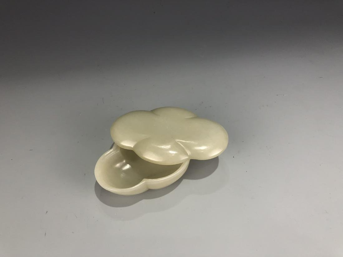 Carved White Jade Flower Petal bowl with Cover - 4