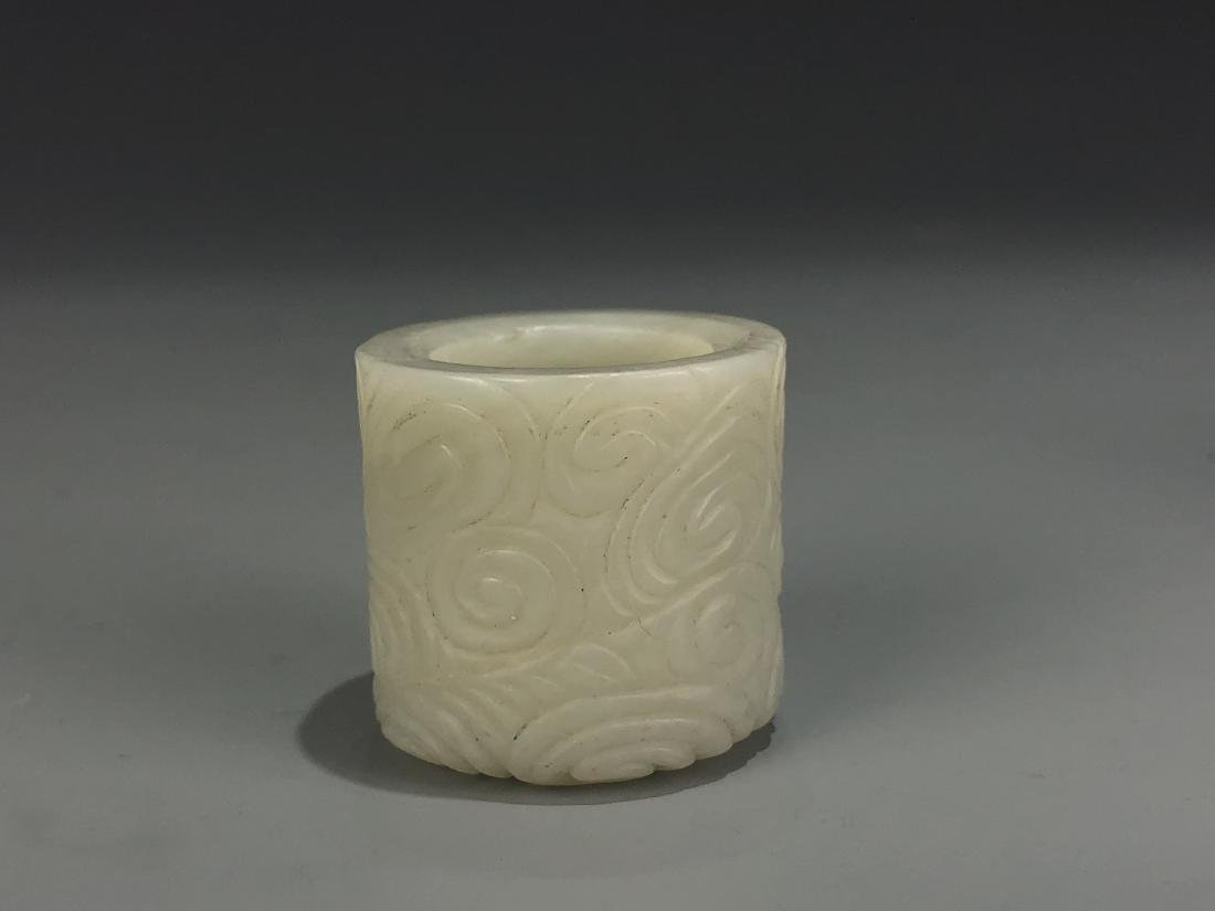 Carved White Jade Archer Ring - 2
