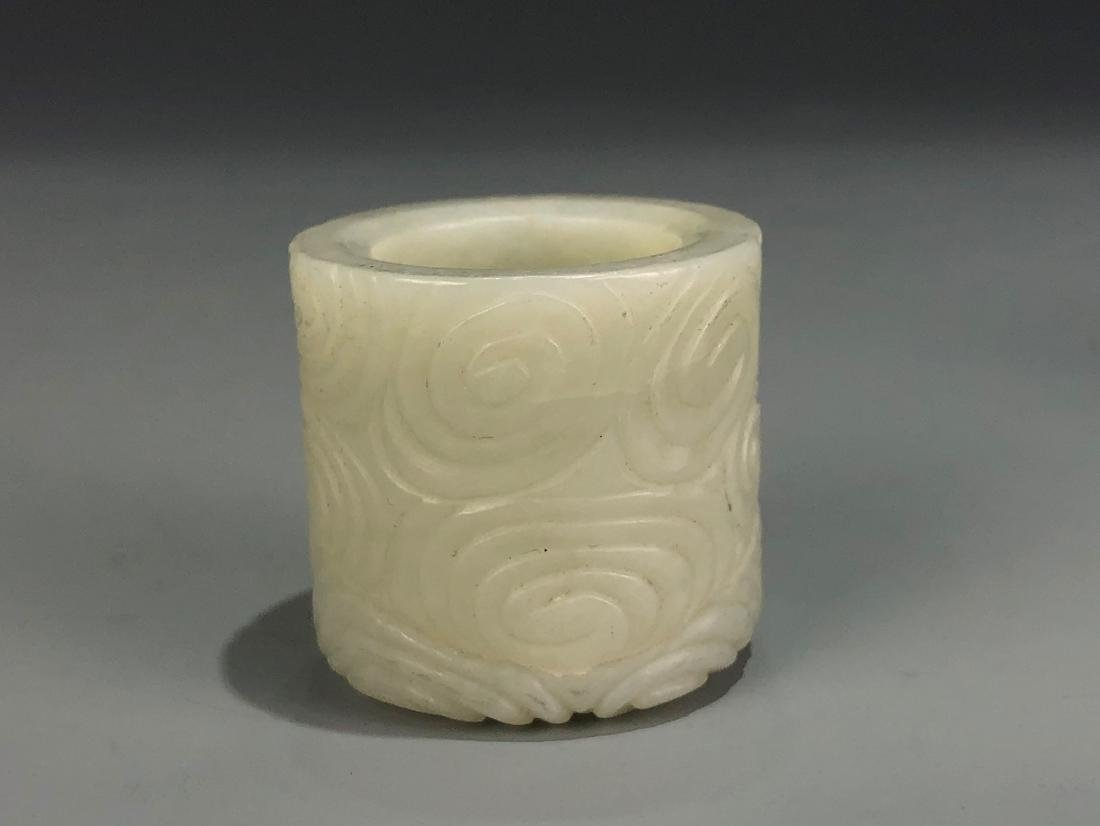 Carved White Jade Archer Ring - 3