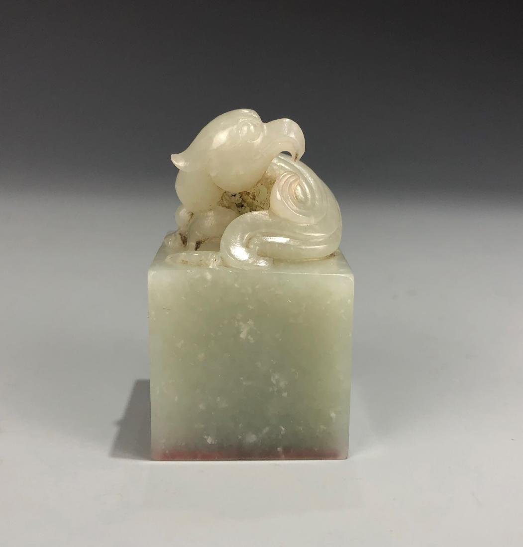 Carved White Jade Seal of Phoenix