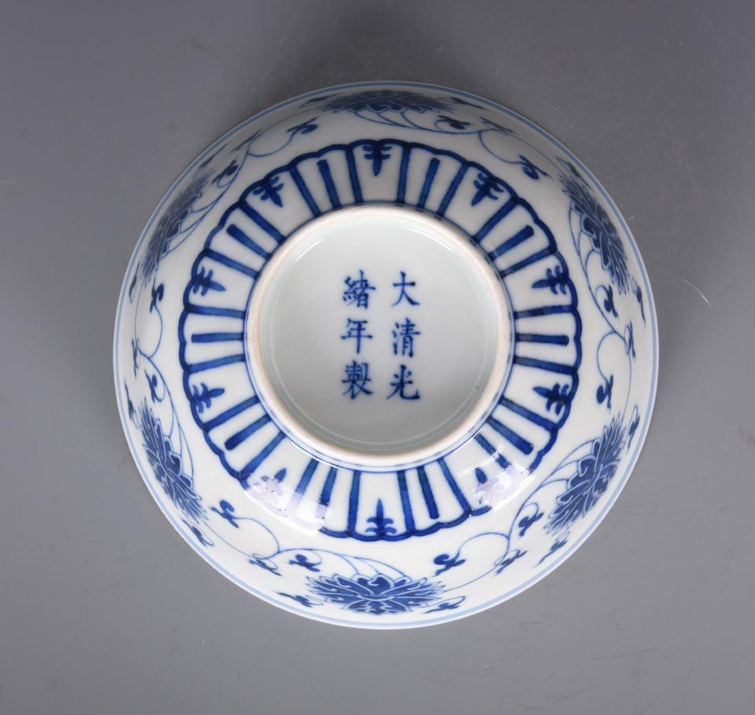 Blue and White Porcelain Bowl with Mark - 9