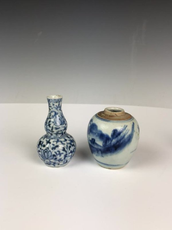 Porcelain Blue and White Double Gourd Vase and Jar - 3