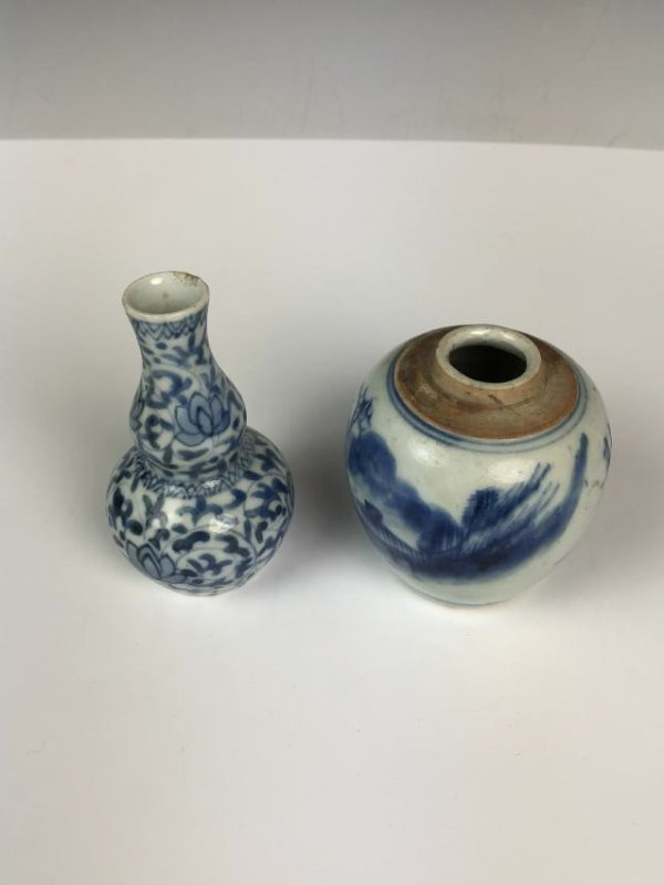 Porcelain Blue and White Double Gourd Vase and Jar - 4