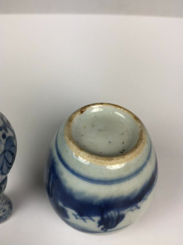 Porcelain Blue and White Double Gourd Vase and Jar - 6