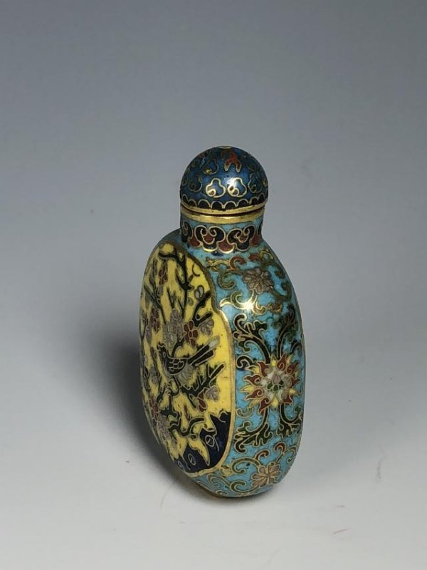 Cloisonne Enamel & Famille Rose Snuff Bottle with mark - 2