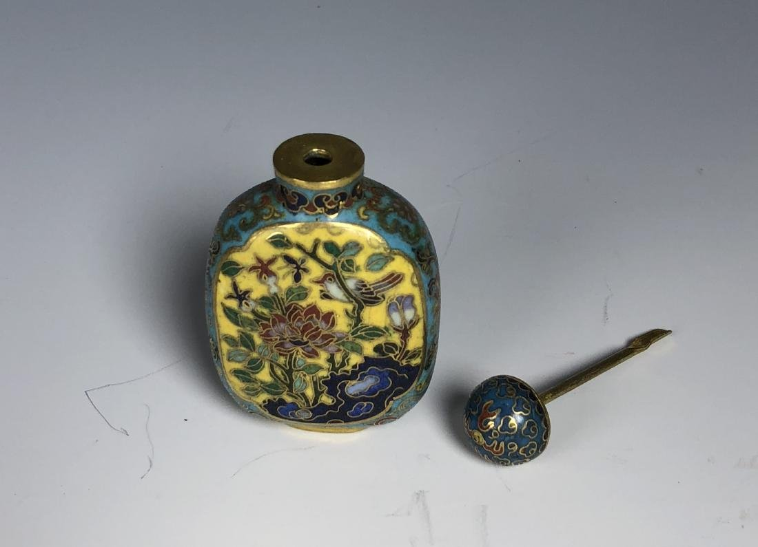 Cloisonne Enamel & Famille Rose Snuff Bottle with mark - 5