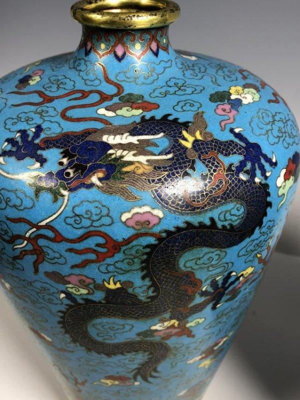 Pair of Cloisonne Enamel Bronze Dragon Vases - 10