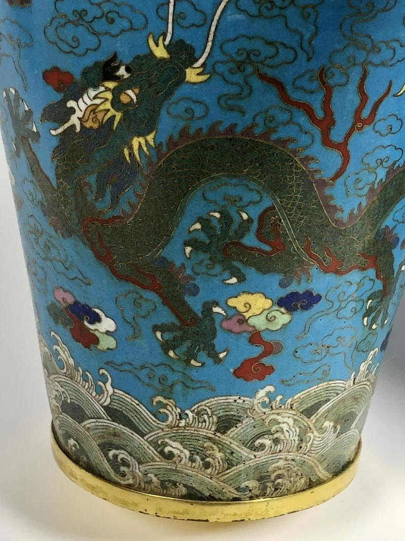 Pair of Cloisonne Enamel Bronze Dragon Vases - 13