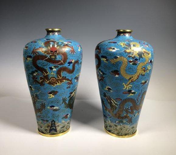 Pair of Cloisonne Enamel Bronze Dragon Vases