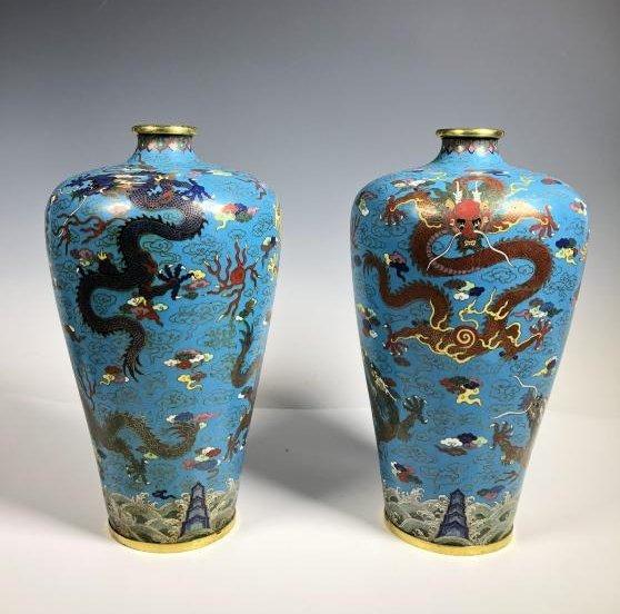 Pair of Cloisonne Enamel Bronze Dragon Vases - 2