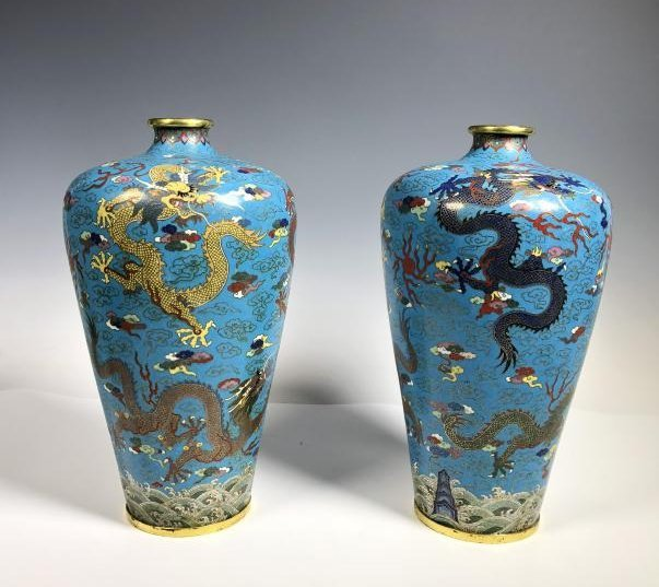 Pair of Cloisonne Enamel Bronze Dragon Vases - 3