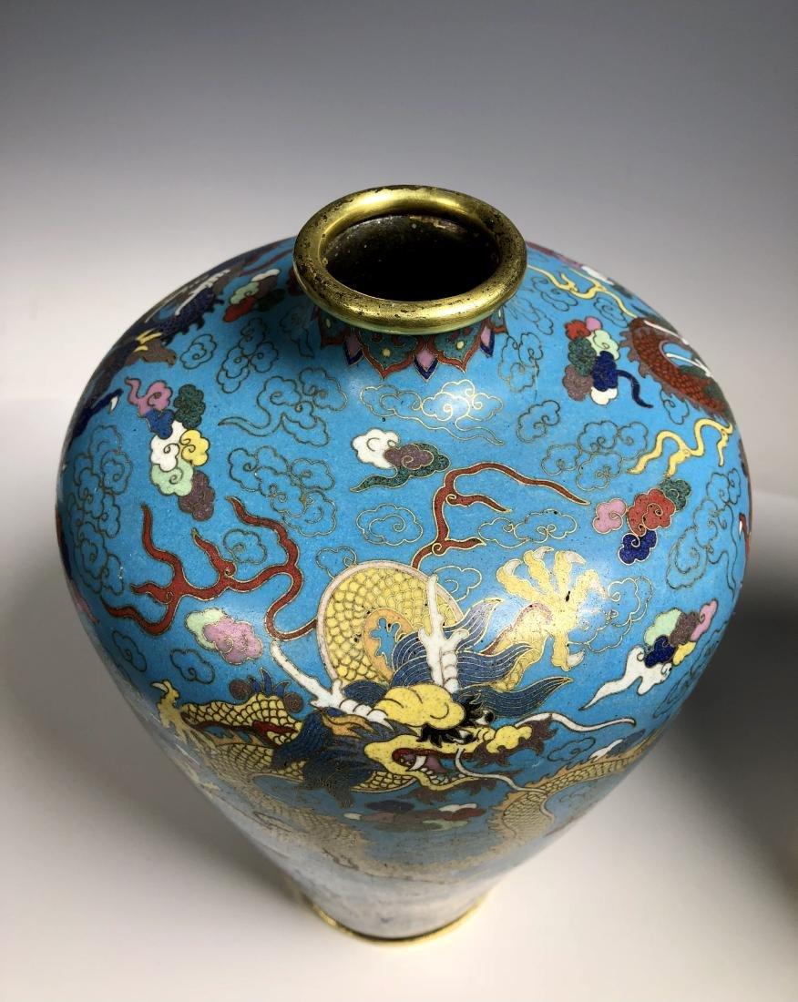 Pair of Cloisonne Enamel Bronze Dragon Vases - 4