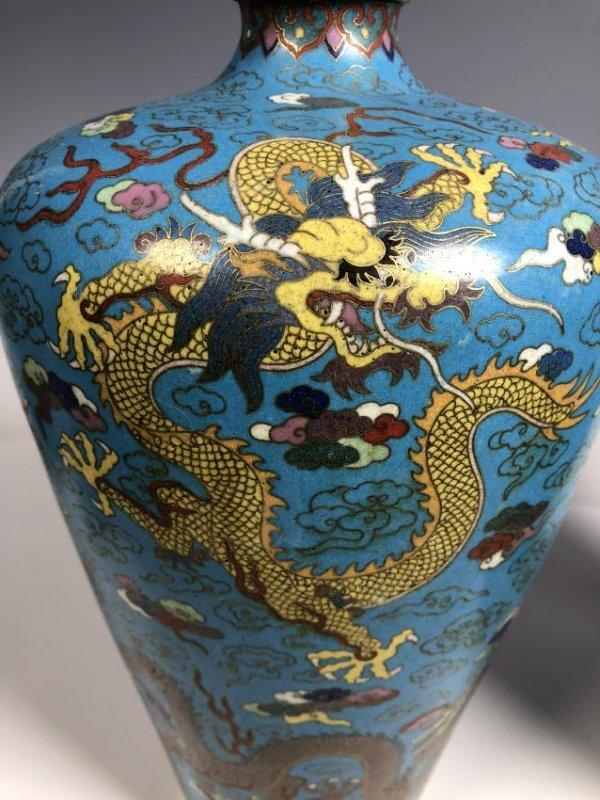Pair of Cloisonne Enamel Bronze Dragon Vases - 6