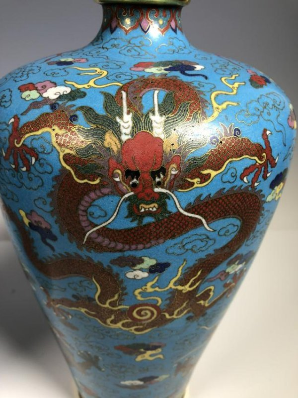Pair of Cloisonne Enamel Bronze Dragon Vases - 8