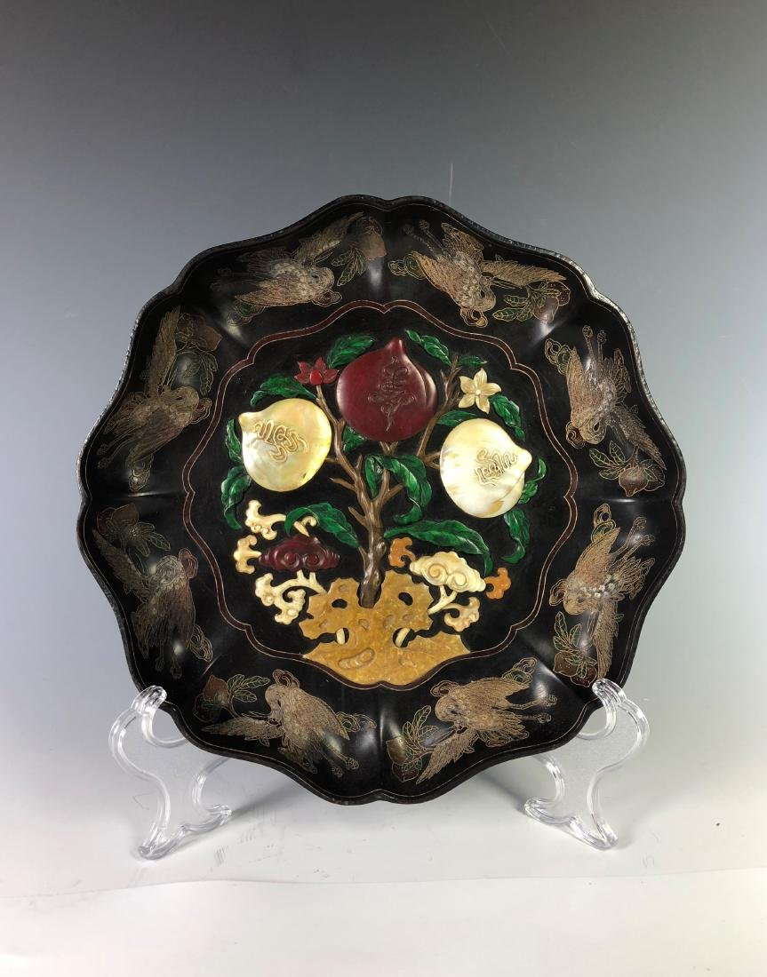 Lacquered Wood Flower Plate with mark - 10
