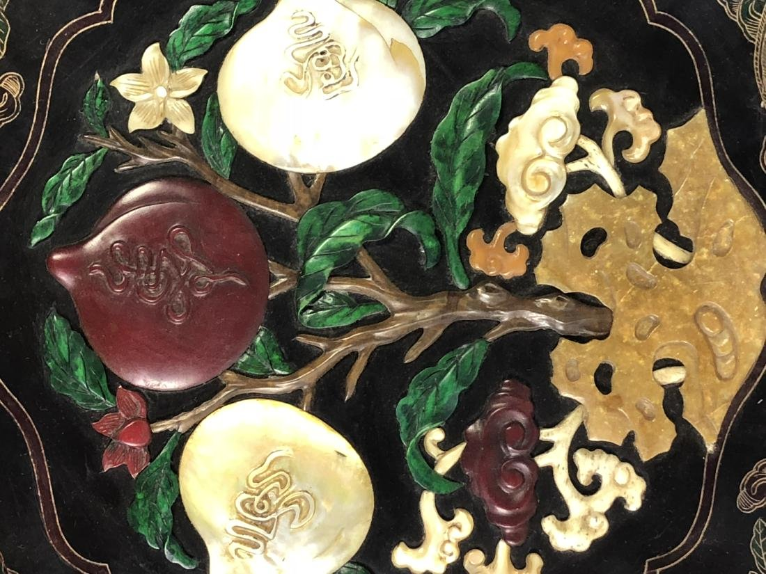 Lacquered Wood Flower Plate with mark - 15