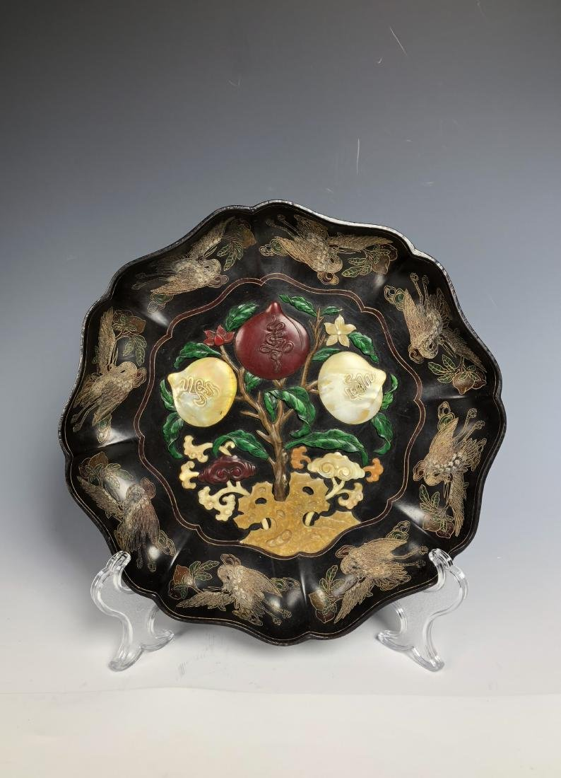 Lacquered Wood Flower Plate with mark