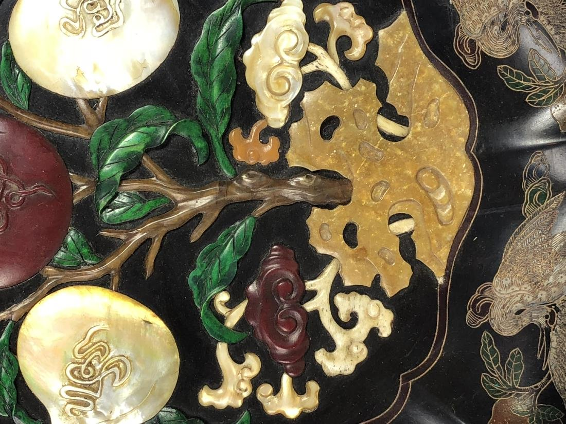 Lacquered Wood Flower Plate with mark - 3