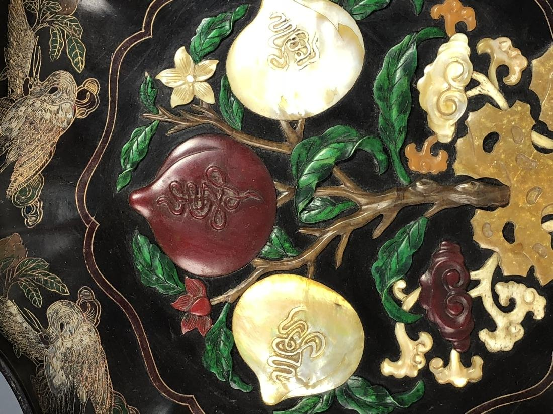 Lacquered Wood Flower Plate with mark - 6