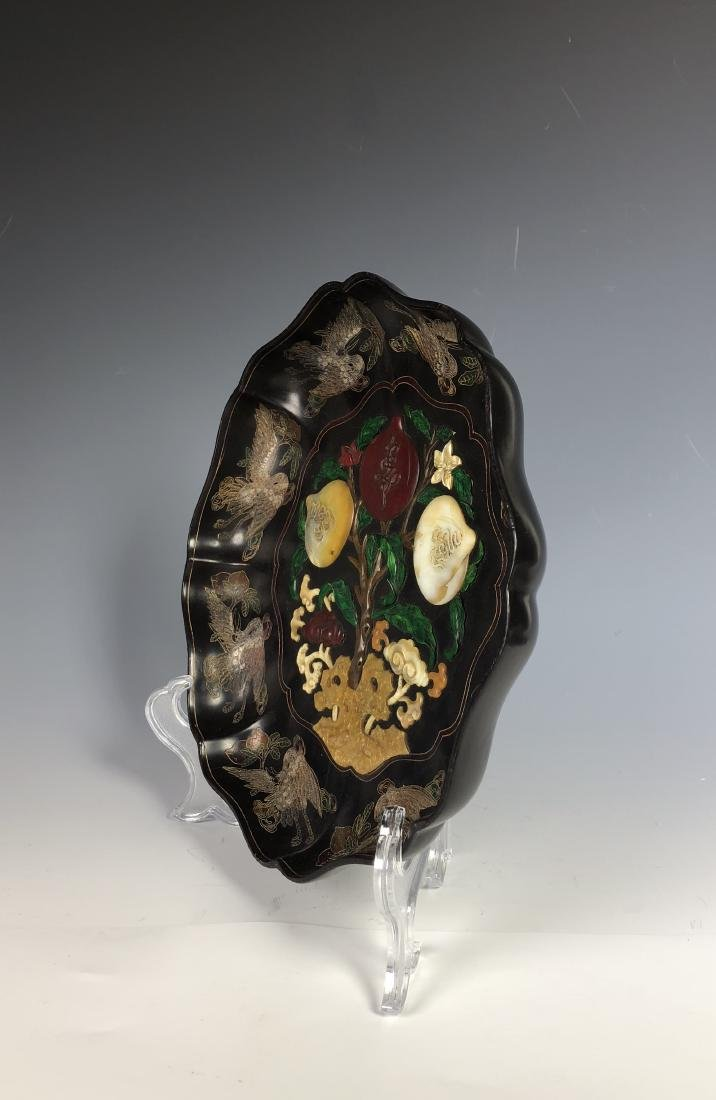 Lacquered Wood Flower Plate with mark - 7