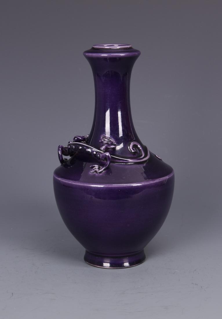 Purple Glazed Porcelain Vase with Beast and mark - 3