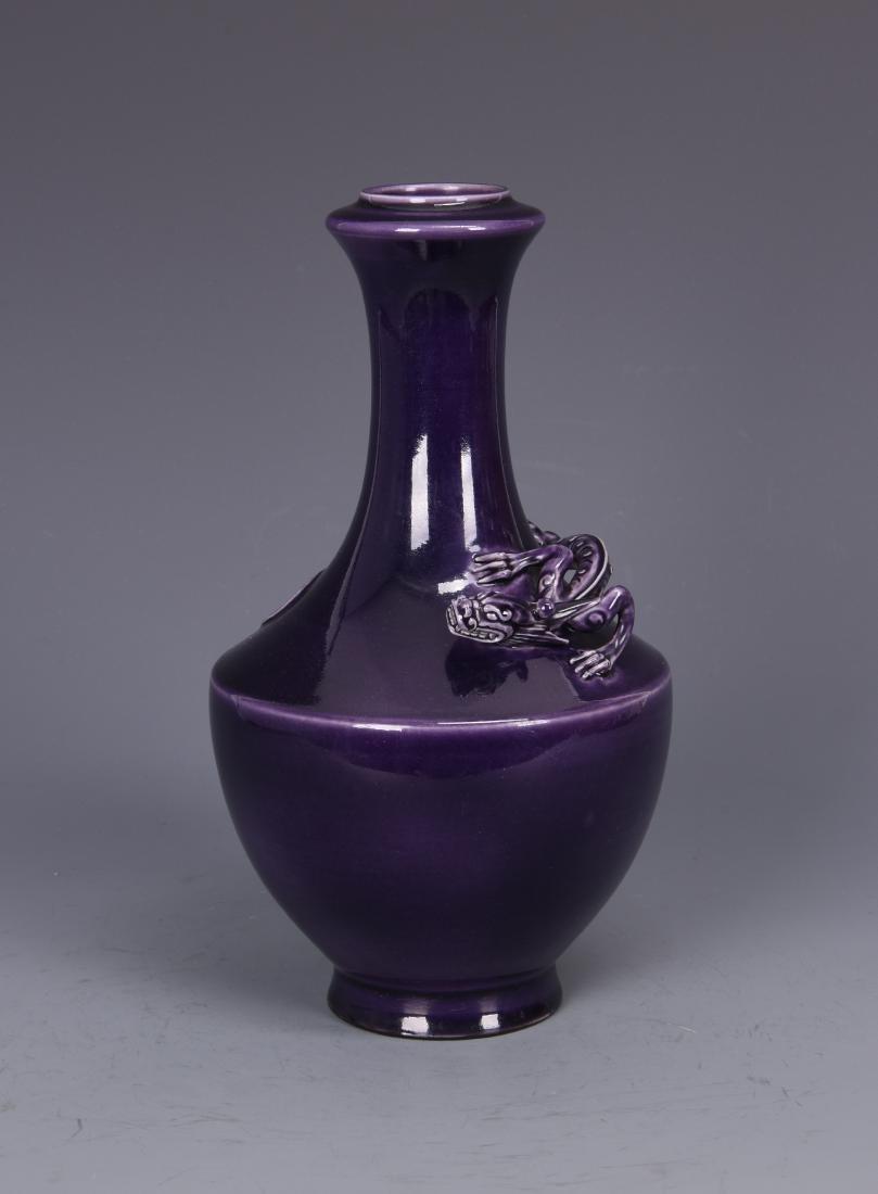 Purple Glazed Porcelain Vase with Beast and mark - 6