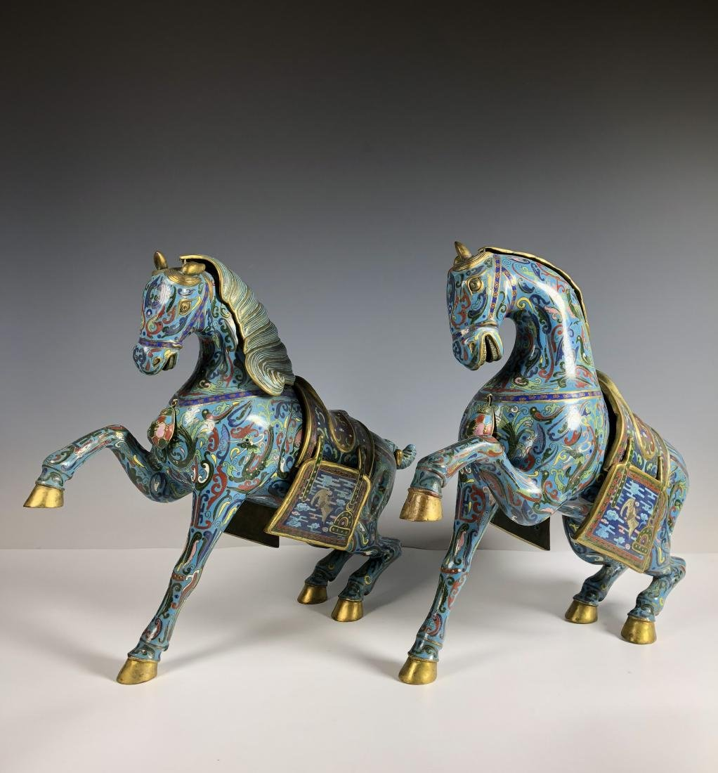 pair of cloisonné  enamel horses