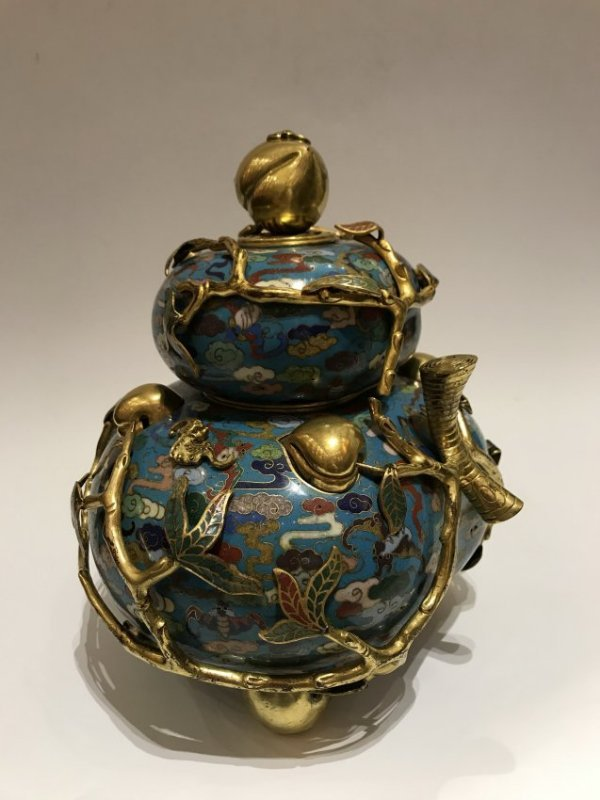 Cloisonne Enamel Gilt-Bronze Double Peach Vase With Cov - 2