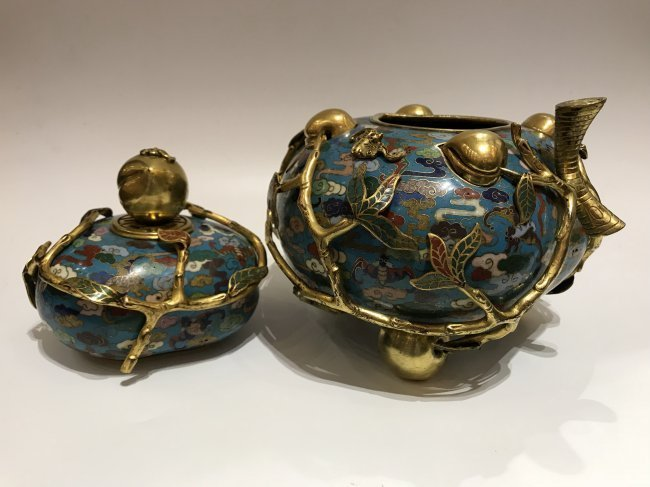Cloisonne Enamel Gilt-Bronze Double Peach Vase With Cov - 3
