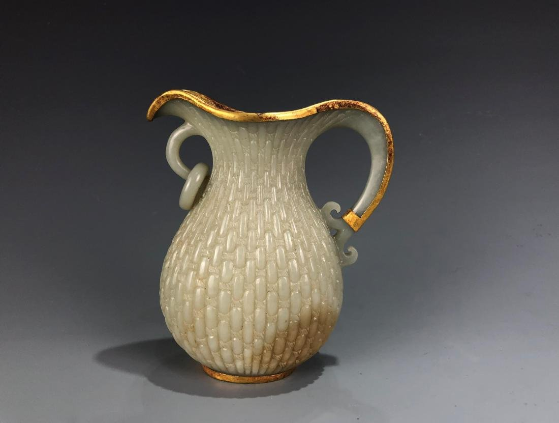 White Jade and Gilt Water Pitcher - 2