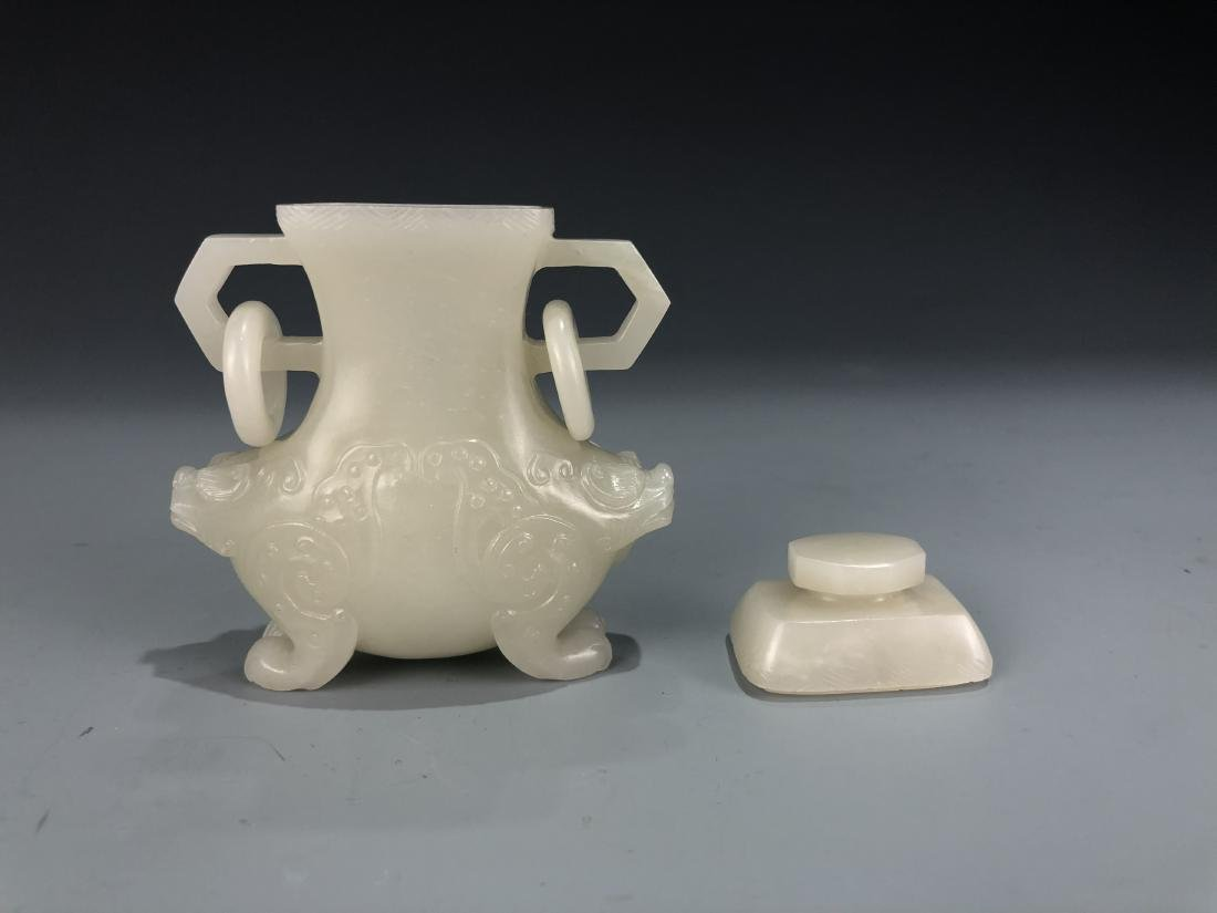 White Jade Animal Vase with Cover - 6