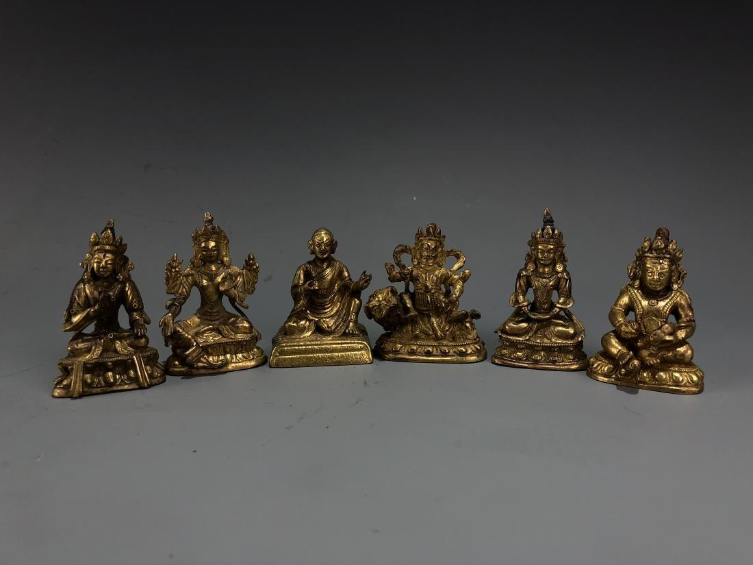 Set of Six Gilt Bronze Figures
