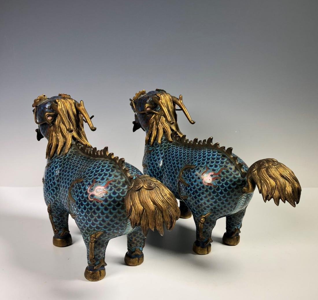 Pair of Cloisonne Enamel Foo Dogs - 9