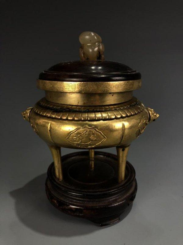 Gilt Bronze Tripod Censer