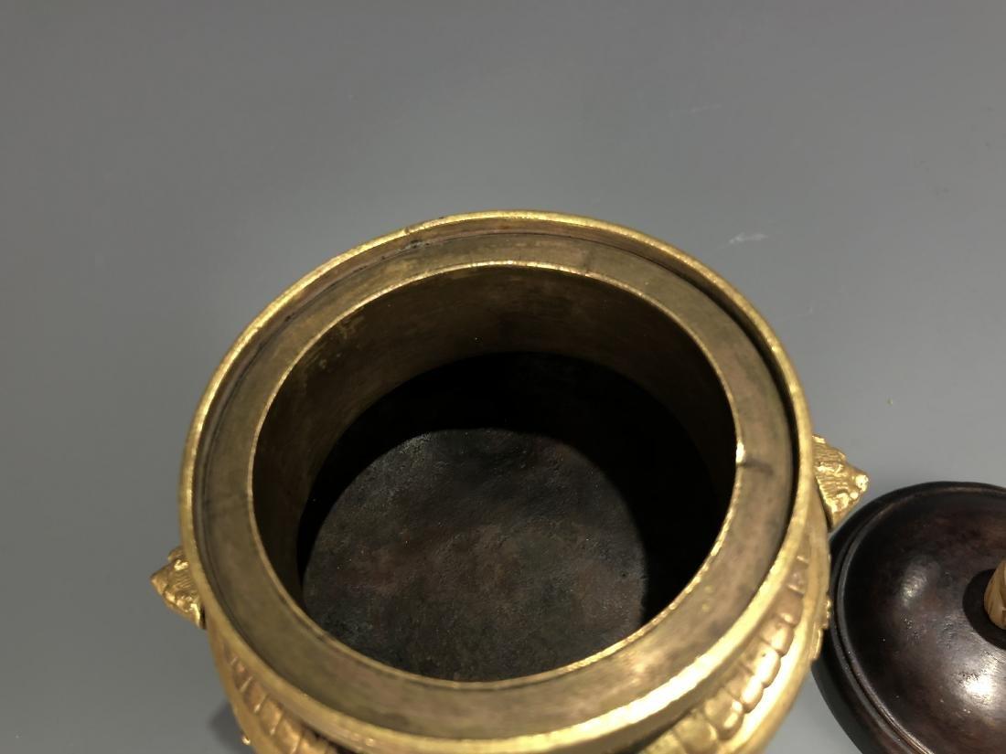 Gilt Bronze Tripod Censer - 2
