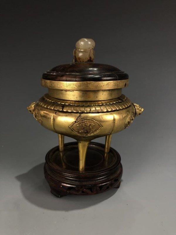 Gilt Bronze Tripod Censer - 3