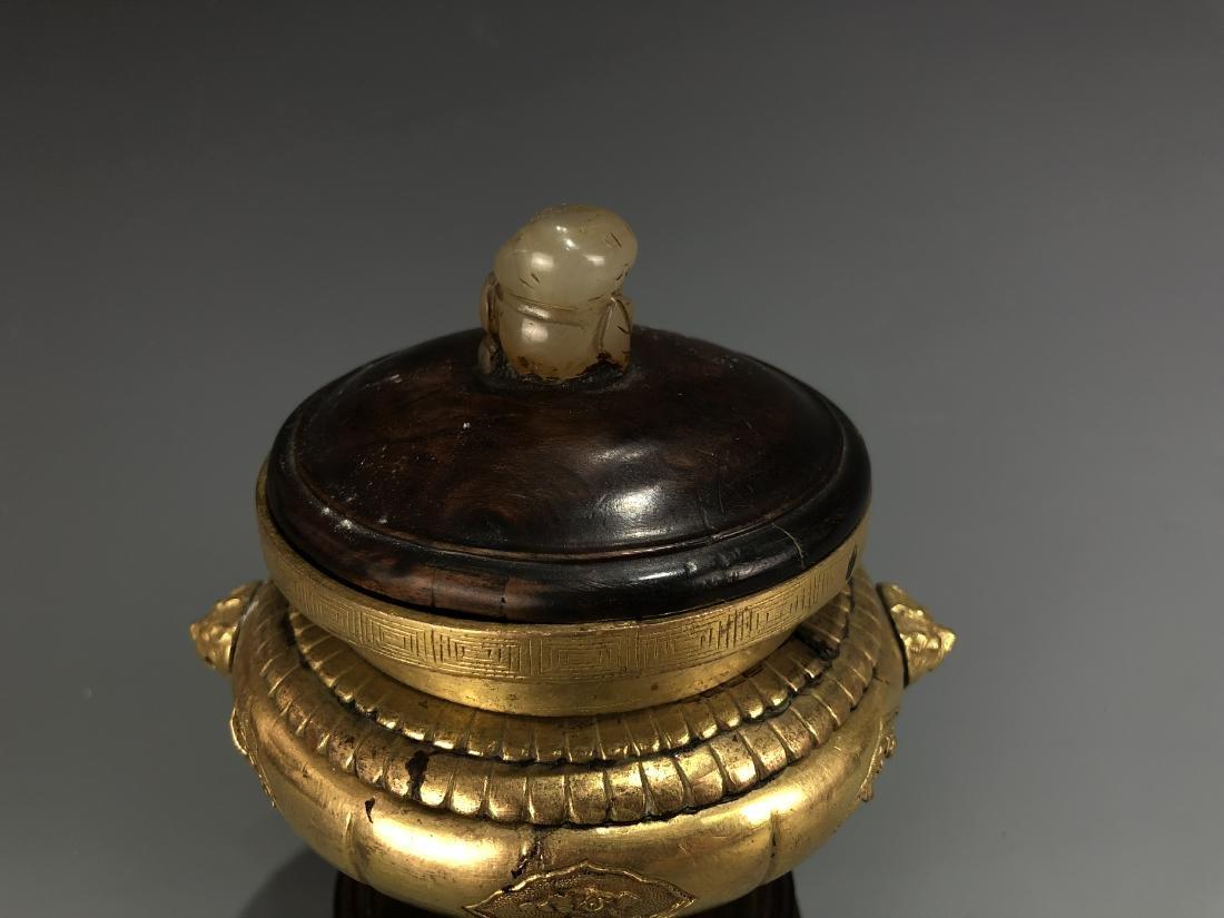 Gilt Bronze Tripod Censer - 4