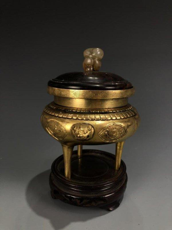 Gilt Bronze Tripod Censer - 5