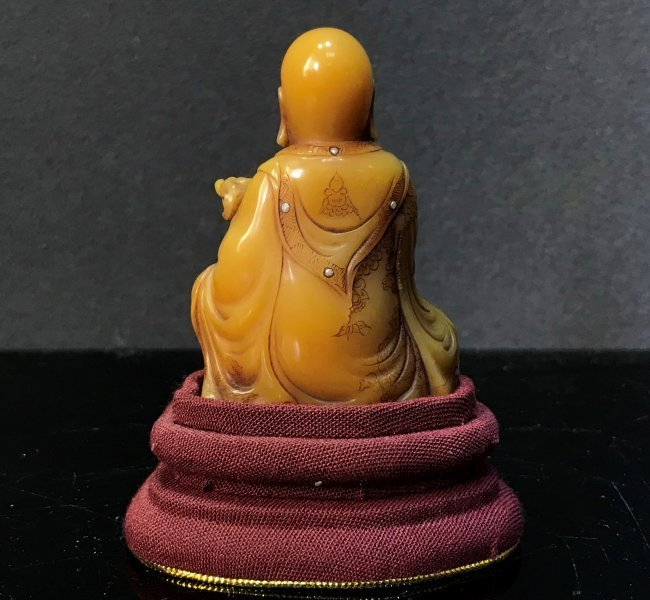 Carved Soap Stone Figure Holding RUYI With Pearls Inlay - 5