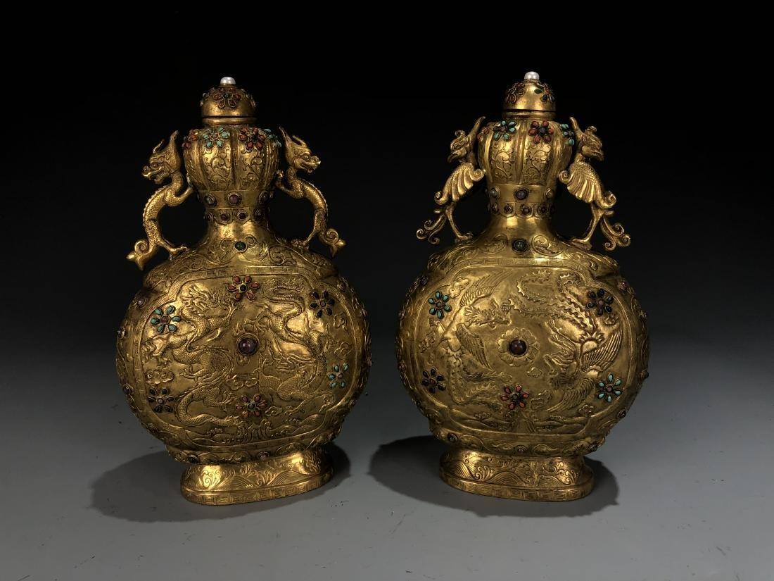 Pair of Gilt Bronze Dragon & Phoenix Vessel with Mark - 10