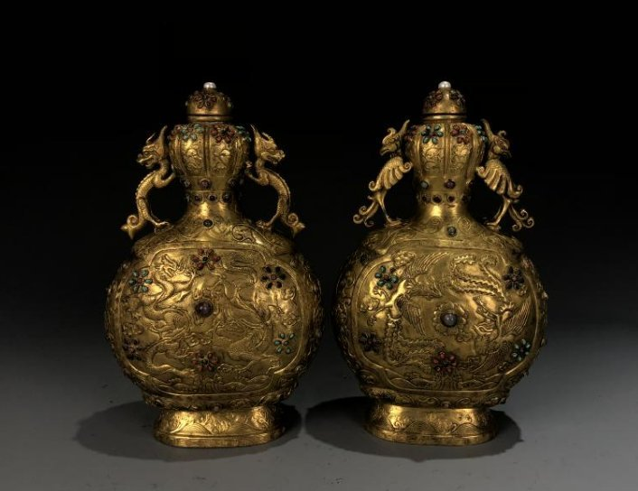 Pair of Gilt Bronze Dragon & Phoenix Vessel with mark
